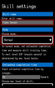 Input skill name and choose mode