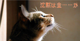 沈黙は金を噛みしめる猫